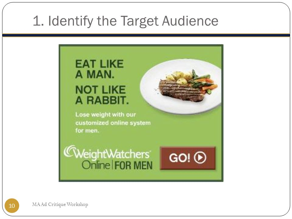 1. Identify the Target Audience MA Ad Critique Workshop 10