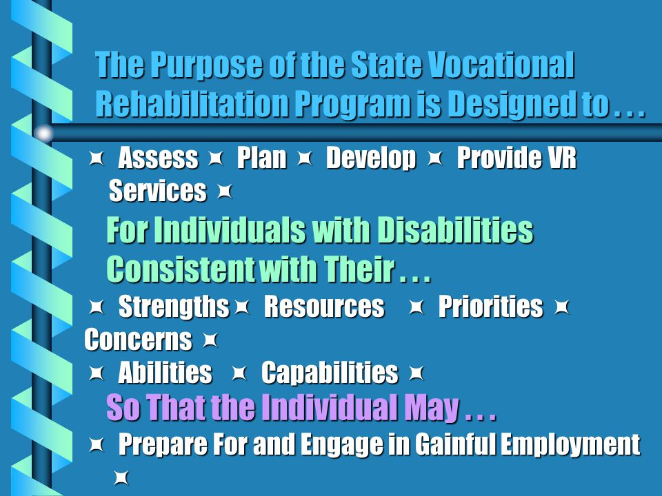 The Purpose of the State Vocational Rehabilitation Program is Designed to...  Assess  Plan  Develop  Provide VR Services  For Individuals with Di