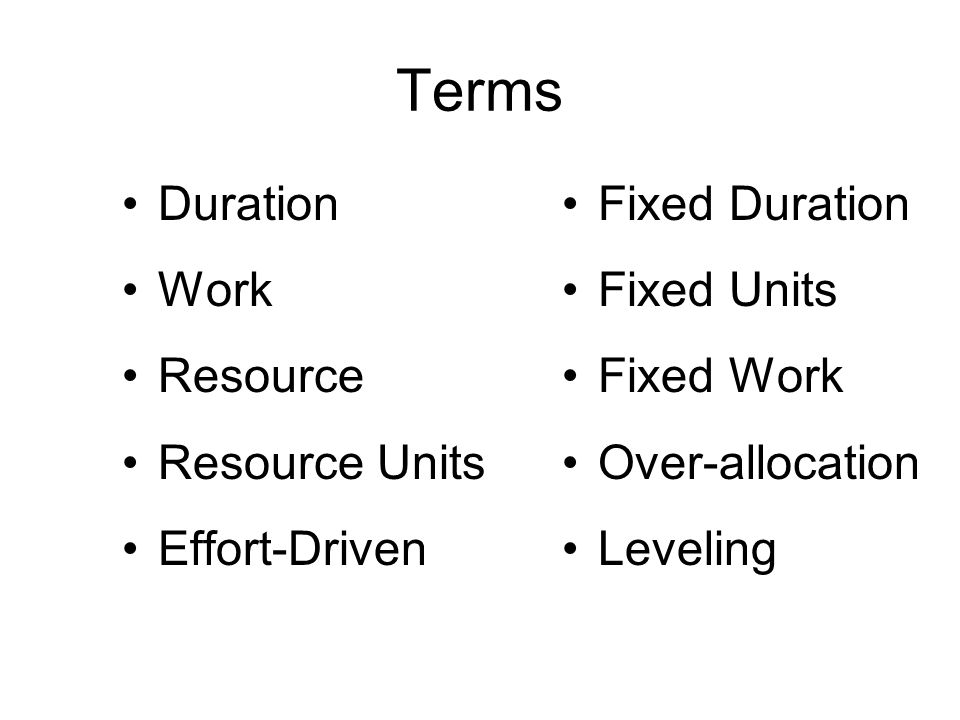 Terms Duration Work Resource Resource Units Effort-Driven Fixed Duration Fixed Units Fixed Work Over-allocation Leveling