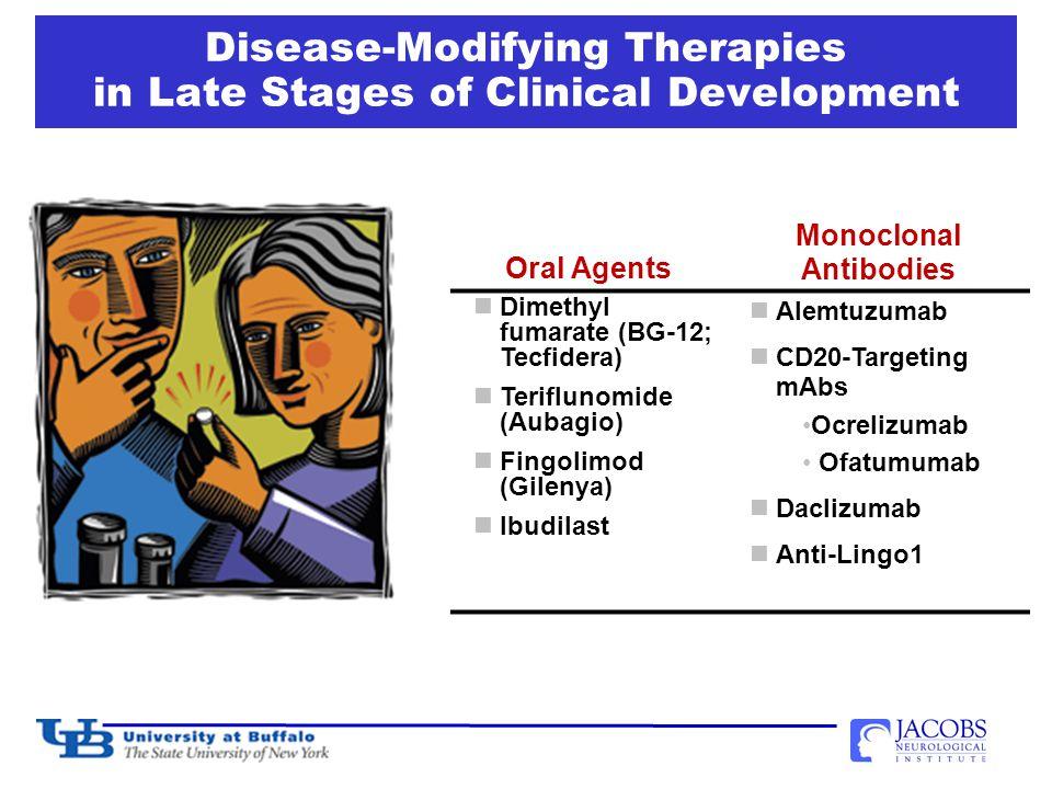 Disease-Modifying Therapies in Late Stages of Clinical Development Oral Agents Monoclonal Antibodies Dimethyl fumarate (BG-12; Tecfidera) Teriflunomide (Aubagio) Fingolimod (Gilenya) Ibudilast Alemtuzumab CD20-Targeting mAbs Ocrelizumab Ofatumumab Daclizumab Anti-Lingo1