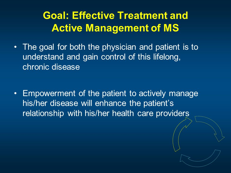 Goal: Effective Treatment and Active Management of MS The goal for both the physician and patient is to understand and gain control of this lifelong, chronic disease Empowerment of the patient to actively manage his/her disease will enhance the patient's relationship with his/her health care providers