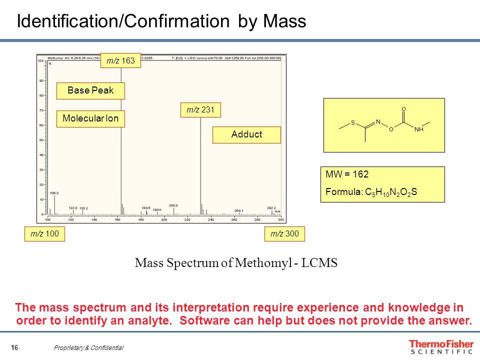 16 Proprietary & Confidential Identification/Confirmation by Mass Mass Spectrum of Methomyl - LCMS Molecular Ion Base Peak Adduct MW = 162 Formula: C