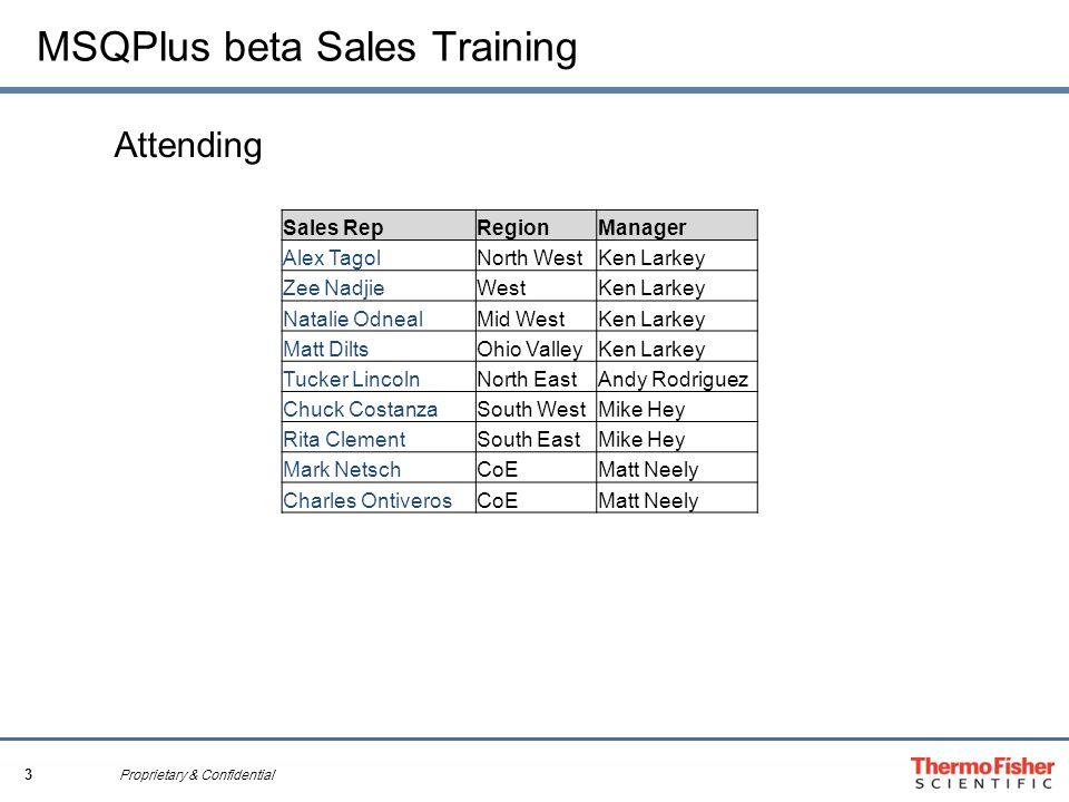 3 Proprietary & Confidential MSQPlus beta Sales Training Attending Sales RepRegionManager Alex TagolNorth WestKen Larkey Zee NadjieWestKen Larkey Nata