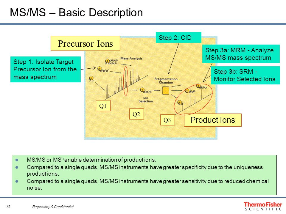 31 Proprietary & Confidential MS/MS – Basic Description Q1 Product Ions Precursor Ions Q2 Q3 ● MS/MS or MS n enable determination of product ions.