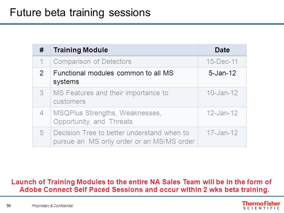 50 Proprietary & Confidential Future beta training sessions #Training ModuleDate 1Comparison of Detectors15-Dec-11 2Functional modules common to all M