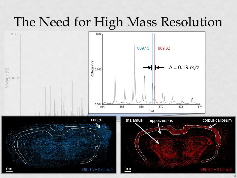 869.32 Δ = 0.19 m/z 869.13 The Need for High Mass Resolution 14