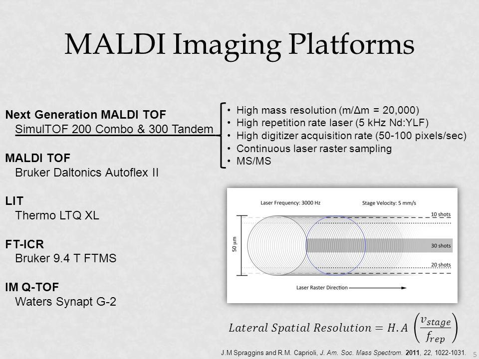 MALDI Imaging Platforms 5 J.M Spraggins and R.M. Caprioli, J. Am. Soc. Mass Spectrom. 2011, 22, 1022-1031. High mass resolution (m/Δm = 20,000) High r