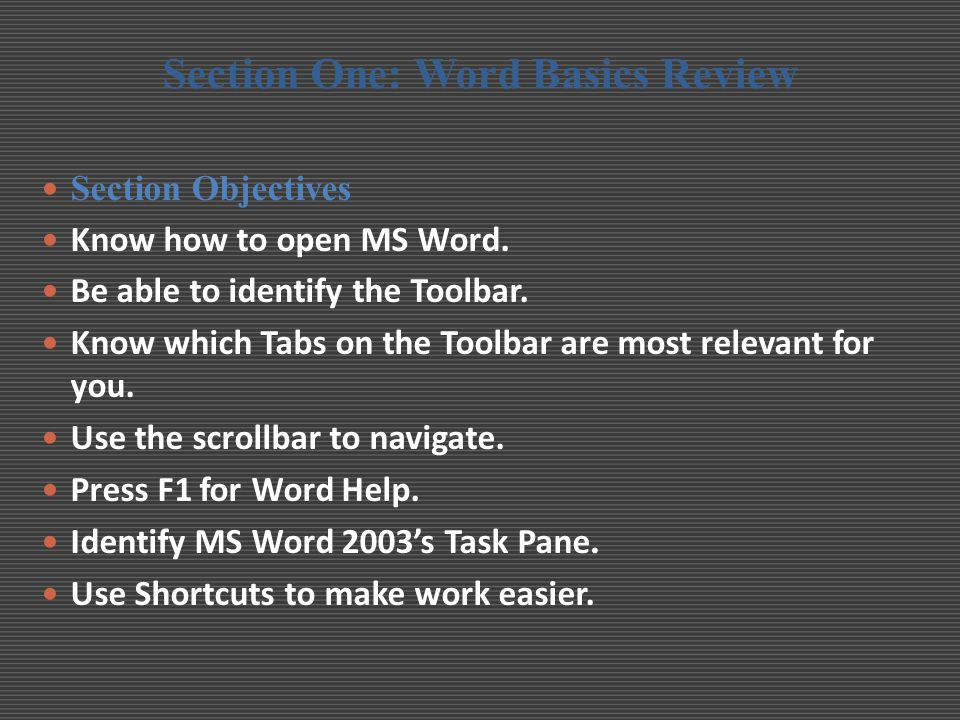 Getting Started To launch MS Word 2007:  Depending on how MS Word is installed on your machine, one of the following methods should launch the program:  Click on the Start menu > All Programs and select Microsoft Office Word from the list.