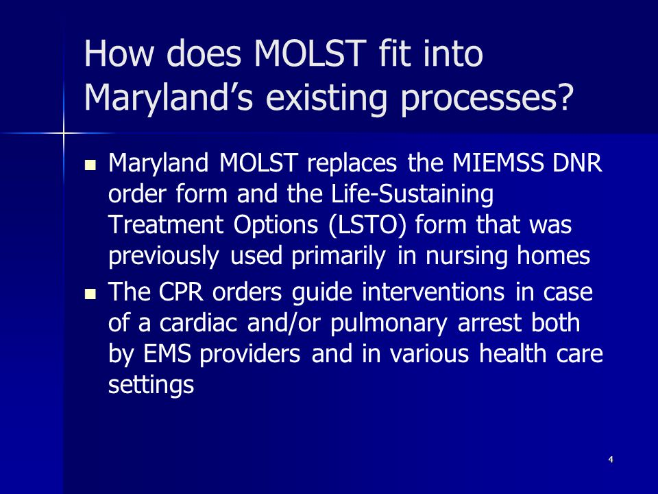 How does MOLST fit into Maryland's existing processes.