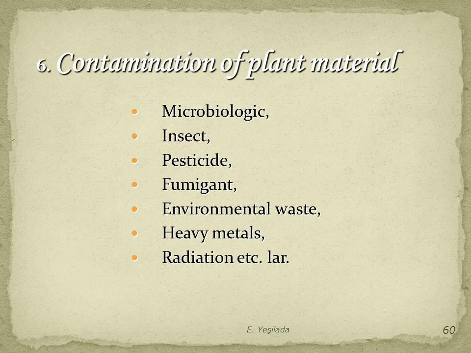 Microbiologic, Microbiologic, Insect, Insect, Pesticide, Pesticide, Fumigant, Fumigant, Environmental waste, Environmental waste, Heavy metals, Heavy