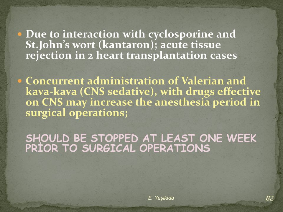 Due to interaction with cyclosporine and St.John's wort (kantaron); acute tissue rejection in 2 heart transplantation cases Concurrent administration