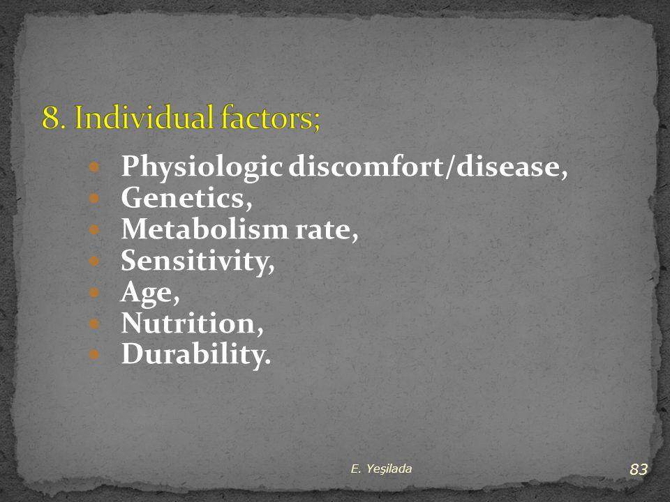 Physiologic discomfort/disease, Genetics, Metabolism rate, Sensitivity, Age, Nutrition, Durability. 83 E. Yeşilada