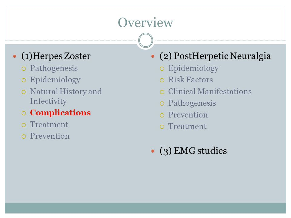 Overview (1)Herpes Zoster  Pathogenesis  Epidemiology  Natural History and Infectivity  Complications  Treatment  Prevention (2) PostHerpetic Neuralgia  Epidemiology  Risk Factors  Clinical Manifestations  Pathogenesis  Prevention  Treatment (3) EMG studies