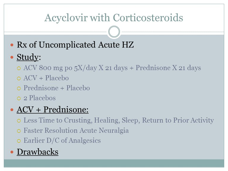 Acyclovir with Corticosteroids Rx of Uncomplicated Acute HZ Study:  ACV 800 mg po 5X/day X 21 days + Prednisone X 21 days  ACV + Placebo  Prednison