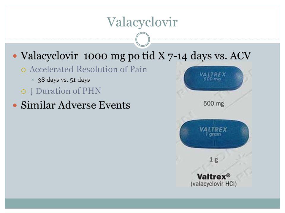 Valacyclovir Valacyclovir 1000 mg po tid X 7-14 days vs. ACV  Accelerated Resolution of Pain  38 days vs. 51 days  ↓ D uration of PHN Similar Adver