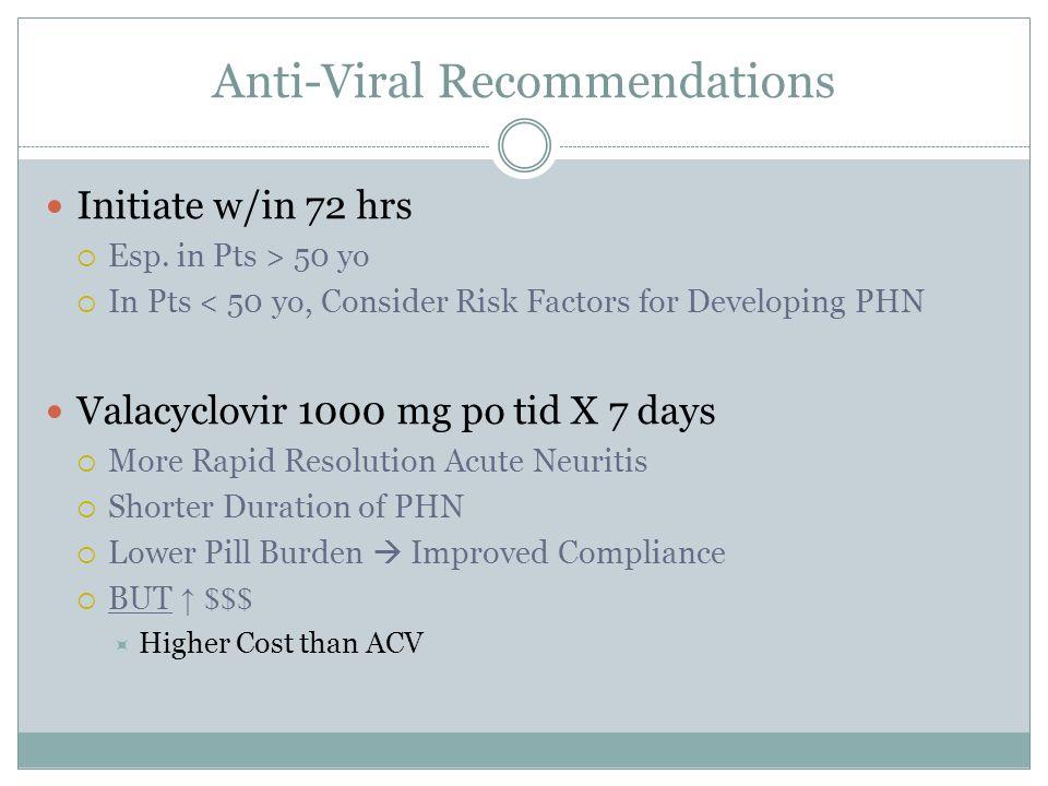 Anti-Viral Recommendations Initiate w/in 72 hrs  Esp.