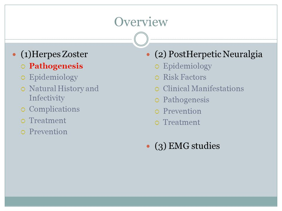 Overview (1)Herpes Zoster  Pathogenesis  Epidemiology  Natural History and Infectivity  Complications  Treatment  Prevention (2) PostHerpetic Ne