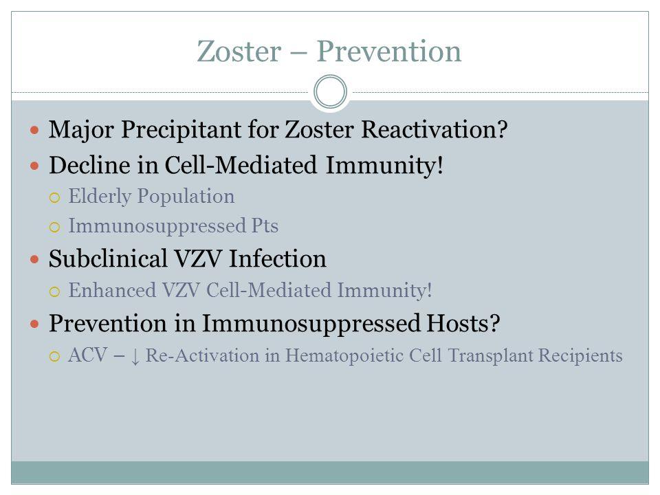 Zoster – Prevention Major Precipitant for Zoster Reactivation.