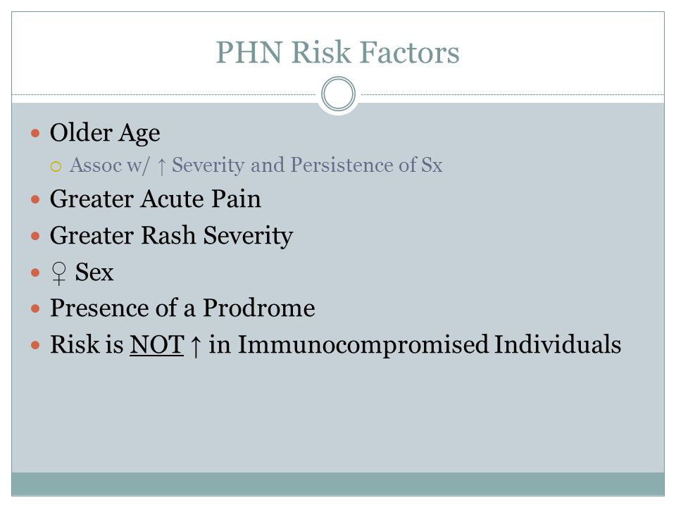 PHN Risk Factors Older Age  Assoc w/ ↑ Severity and Persistence of Sx Greater Acute Pain Greater Rash Severity ♀ Sex Presence of a Prodrome Risk is NOT ↑ in Immunocompromised Individuals