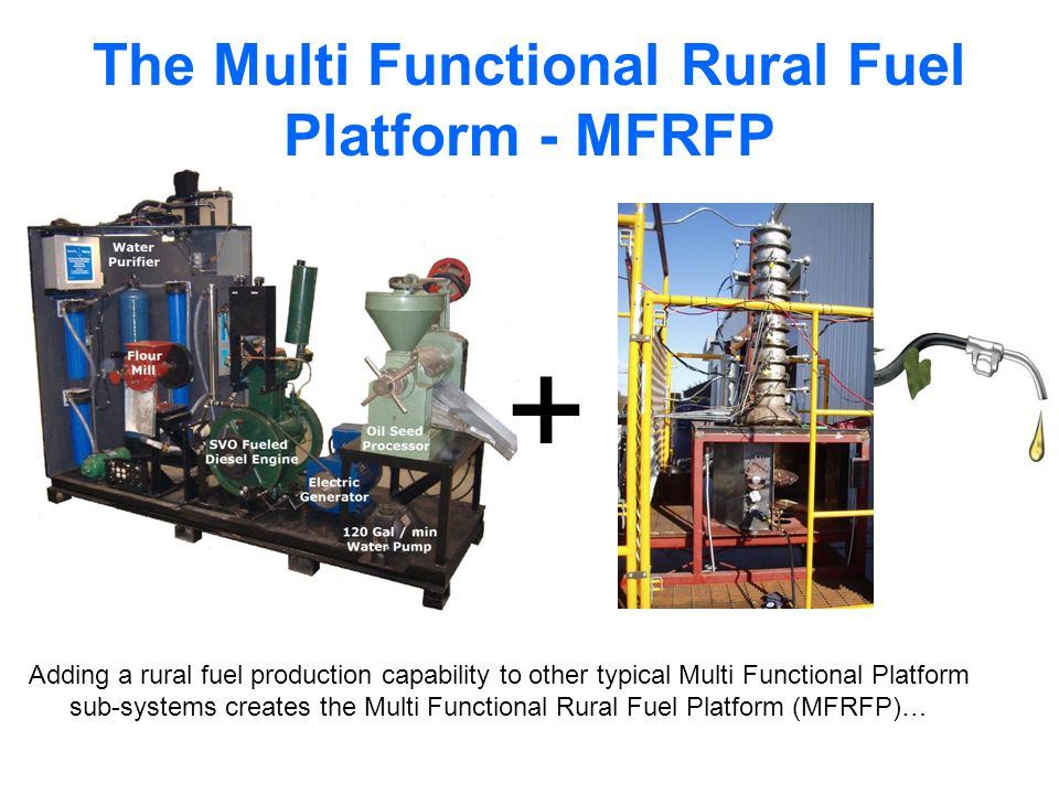 The Multi Functional Rural Fuel Platform - MFRFP Adding a rural fuel production capability to other typical Multi Functional Platform sub-systems creates the Multi Functional Rural Fuel Platform (MFRFP)… +