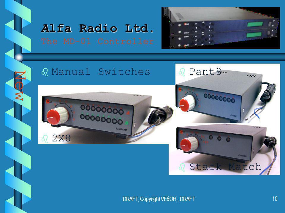 DRAFT, Copyright VE6OH, DRAFT9 Alfa Radio Ltd. Alfa Radio Ltd.