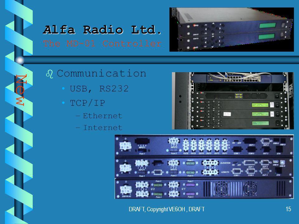 DRAFT, Copyright VE6OH, DRAFT14 Alfa Radio Ltd. Alfa Radio Ltd.