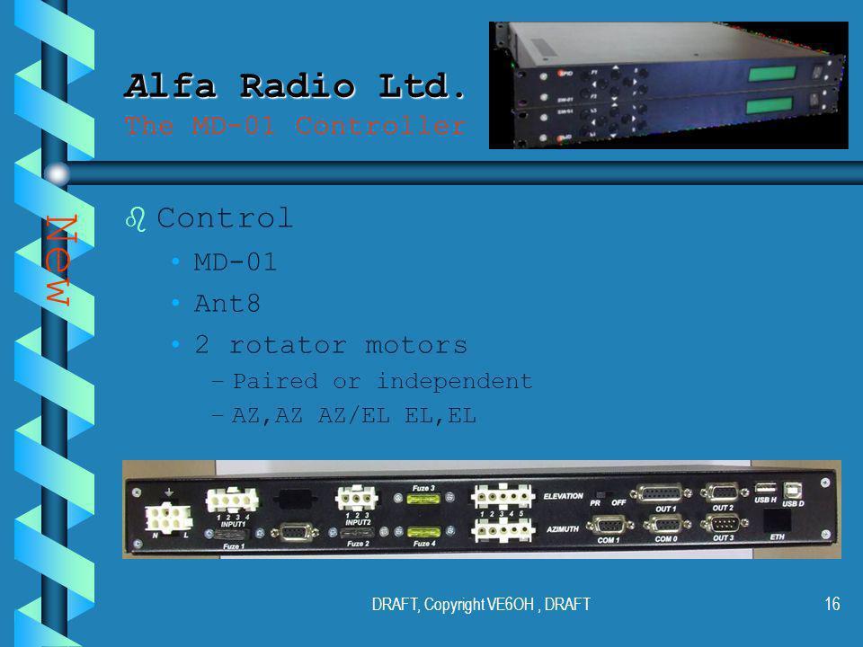 DRAFT, Copyright VE6OH, DRAFT15 Alfa Radio Ltd. Alfa Radio Ltd.