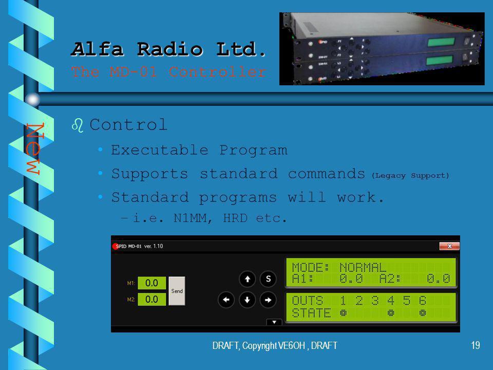 DRAFT, Copyright VE6OH, DRAFT18 Alfa Radio Ltd. Alfa Radio Ltd.