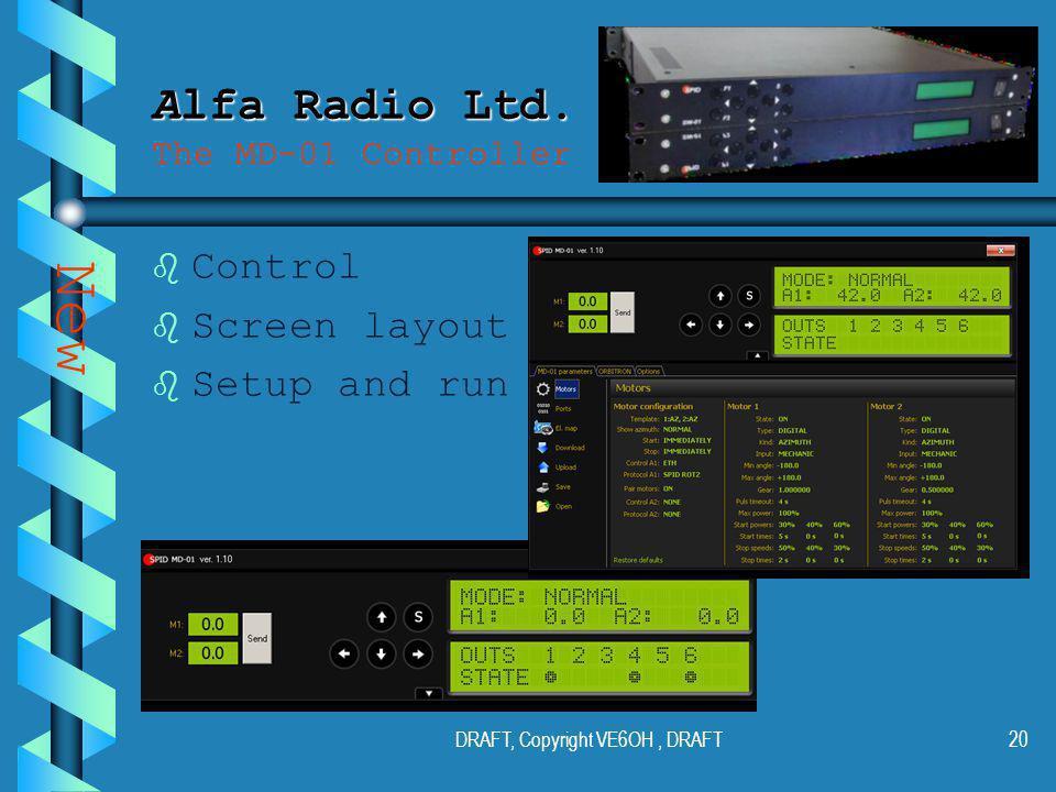 DRAFT, Copyright VE6OH, DRAFT19 Alfa Radio Ltd. Alfa Radio Ltd.