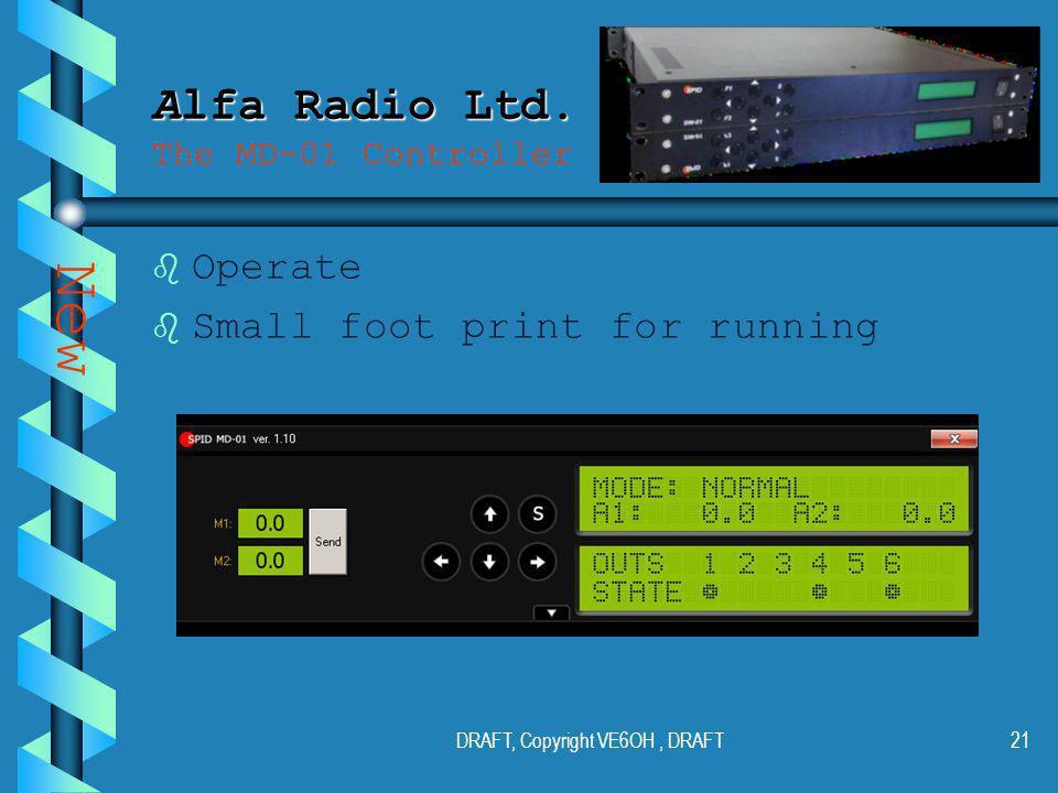 DRAFT, Copyright VE6OH, DRAFT20 Alfa Radio Ltd. Alfa Radio Ltd.