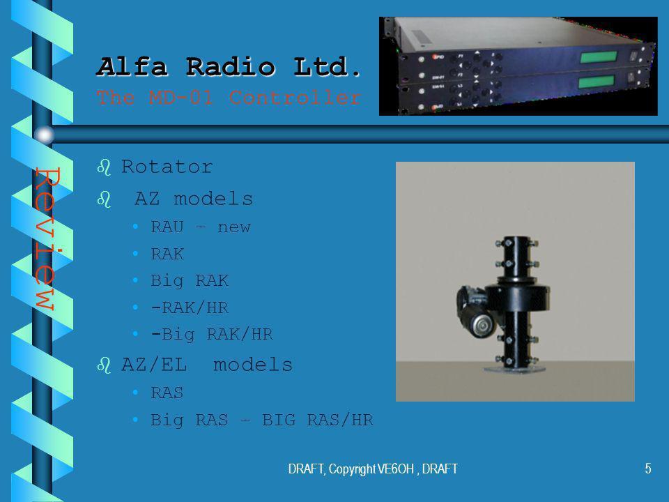 DRAFT, Copyright VE6OH, DRAFT4 Alfa Radio Ltd. Alfa Radio Ltd.