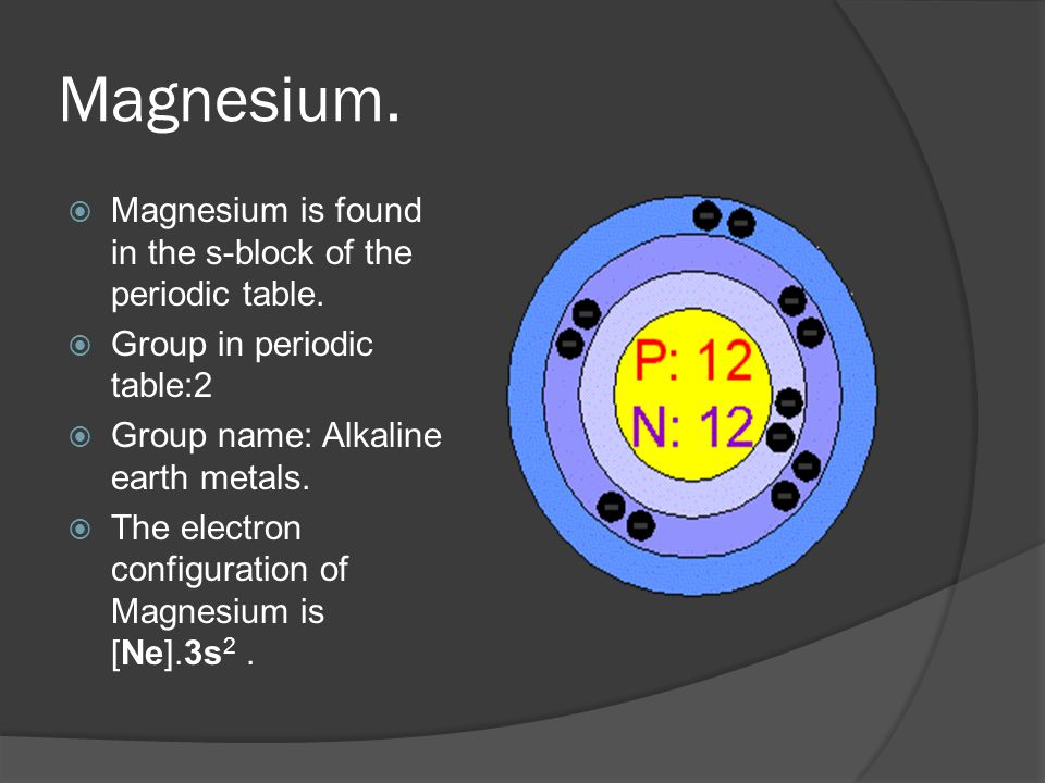 Magnesium  Atomic weight : 24.305  Atomic number : 12  Atomic symbol : Mg  Atomic Radius : 160 pm