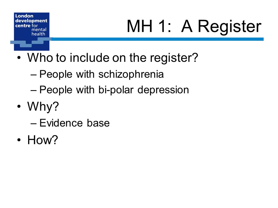 MH 1: A Register Who to include on the register.
