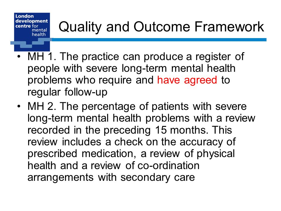 Quality and Outcome Framework MH 1.