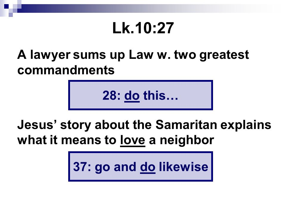 Lk.10:27 A lawyer sums up Law w.