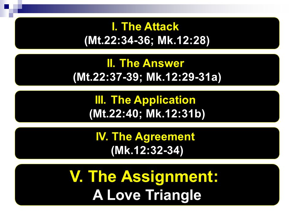 I. The Attack (Mt.22:34-36; Mk.12:28) II. The Answer (Mt.22:37-39; Mk.12:29-31a) III. The Application (Mt.22:40; Mk.12:31b) IV. The Agreement (Mk.12:3