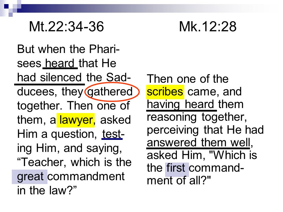 Mt.22:34-36 Mk.12:28 But when the Phari- sees heard that He had silenced the Sad- ducees, they gathered together.