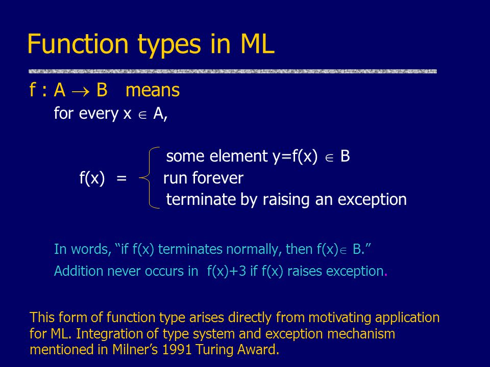 Function types in ML f : A  B means for every x  A, some element y=f(x)  B f(x) = run forever terminate by raising an exception In words, if f(x) terminates normally, then f(x)  B. Addition never occurs in f(x)+3 if f(x) raises exception.