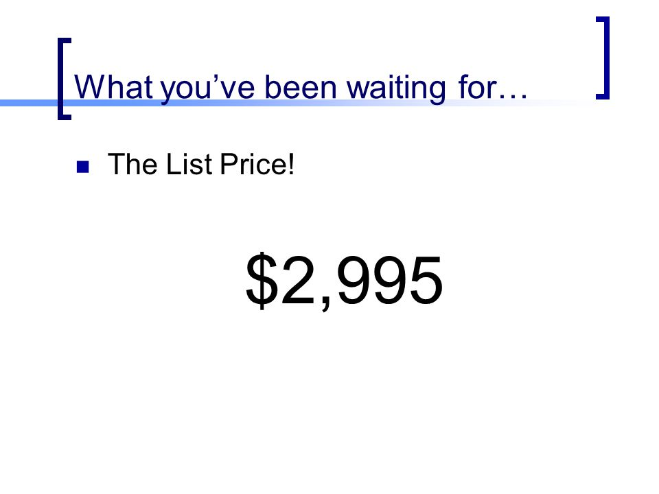 What you've been waiting for… The List Price! $2,995