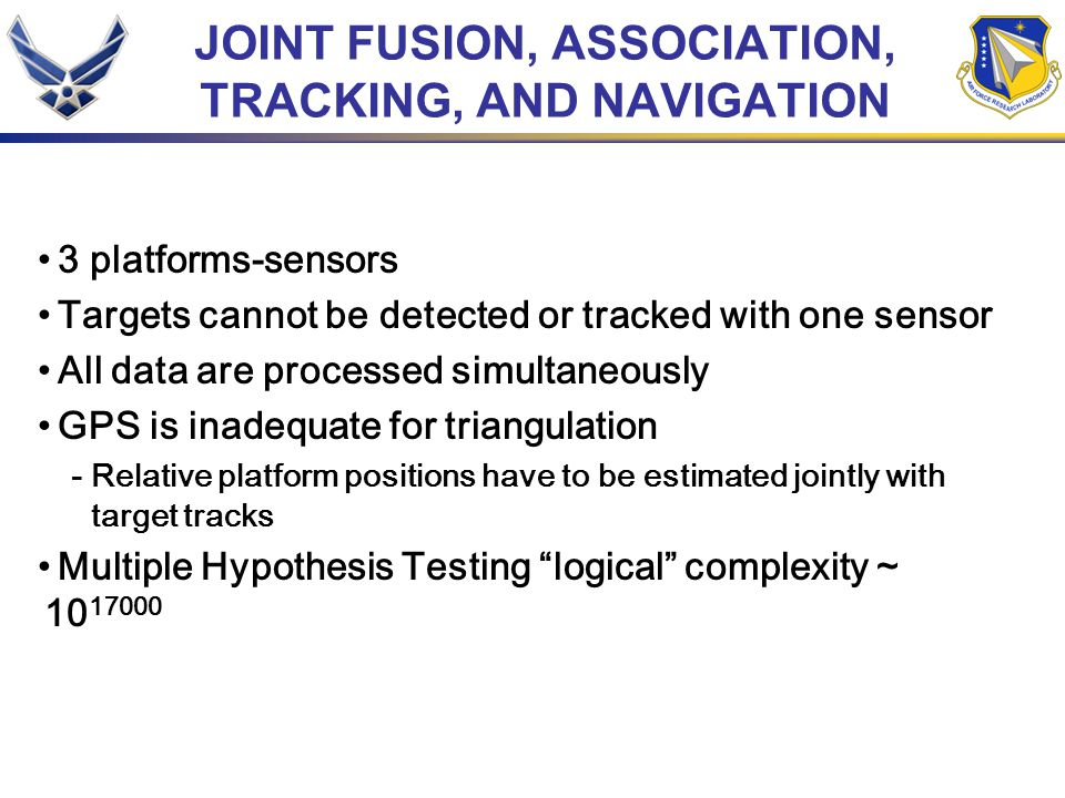 JOINT FUSION, ASSOCIATION, TRACKING, AND NAVIGATION 3 platforms-sensors Targets cannot be detected or tracked with one sensor All data are processed simultaneously GPS is inadequate for triangulation - Relative platform positions have to be estimated jointly with target tracks Multiple Hypothesis Testing logical complexity ~ 10 17000