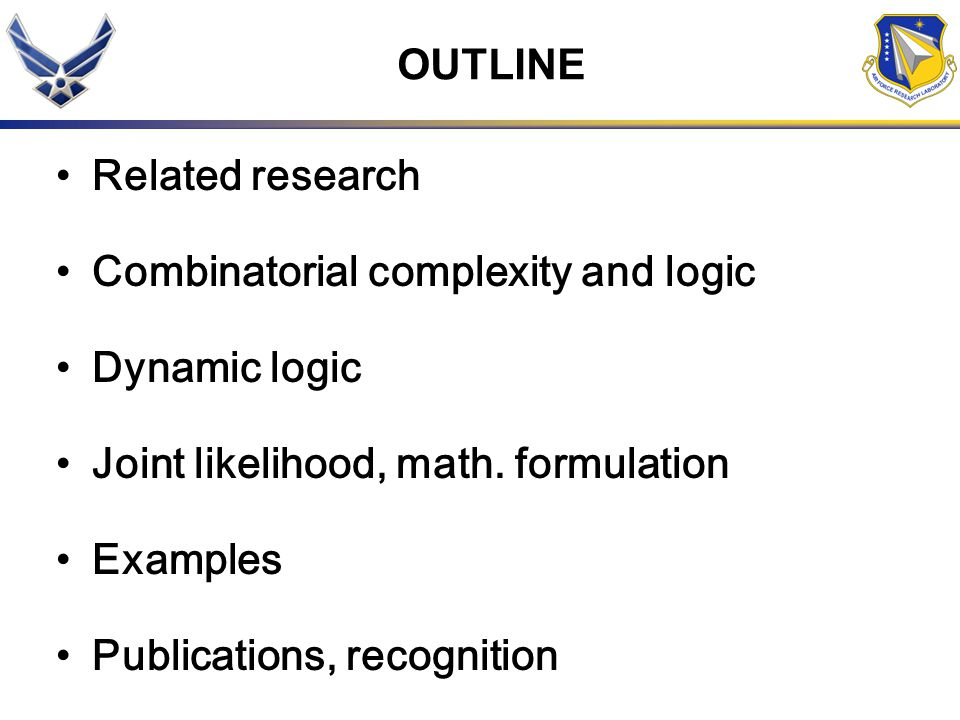 OUTLINE Related research Combinatorial complexity and logic Dynamic logic Joint likelihood, math. formulation Examples Publications, recognition