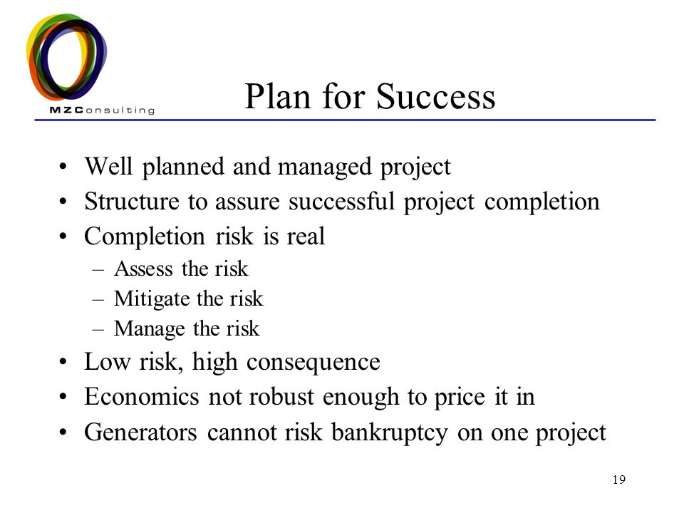 19 Plan for Success Well planned and managed project Structure to assure successful project completion Completion risk is real –Assess the risk –Mitigate the risk –Manage the risk Low risk, high consequence Economics not robust enough to price it in Generators cannot risk bankruptcy on one project