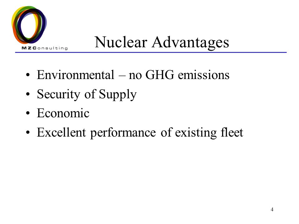 4 Nuclear Advantages Environmental – no GHG emissions Security of Supply Economic Excellent performance of existing fleet
