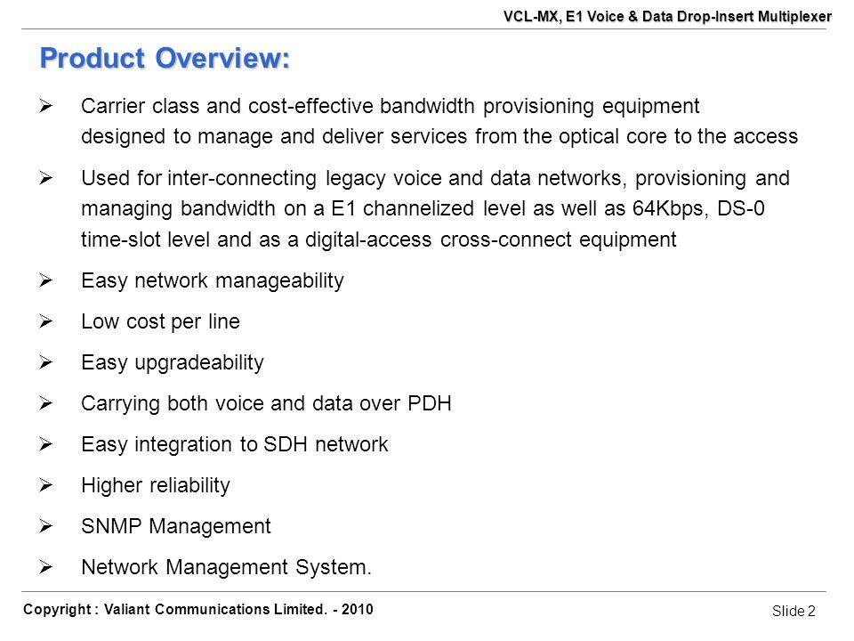 Slide 13 Copyright : Valiant Communications Limited.