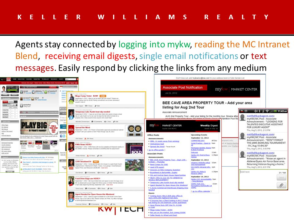 KELLER WILLIAMS REALTY Agents stay connected by logging into mykw, reading the MC Intranet Blend, receiving  digests, single  notifications or text messages.