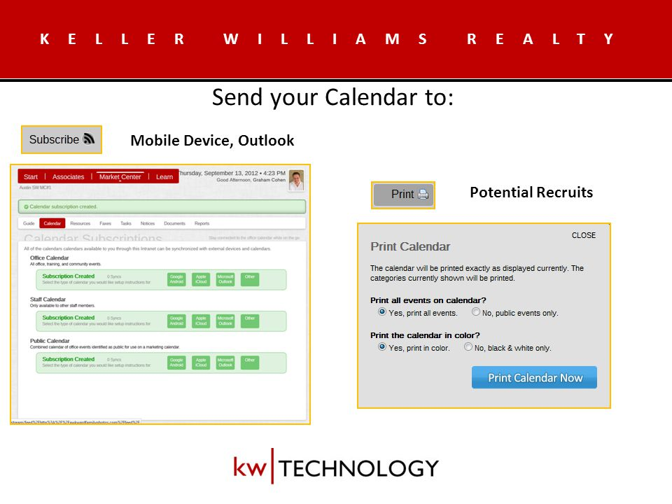 KELLER WILLIAMS REALTY Add & Announce Calendar Events Include Registration/RSVP