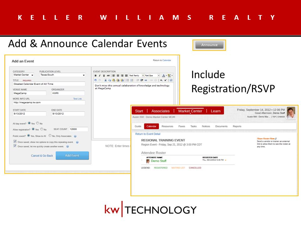 KELLER WILLIAMS REALTY Resource Scheduling – Whitelist/Blacklist - Who Can/Cannot Sign Up