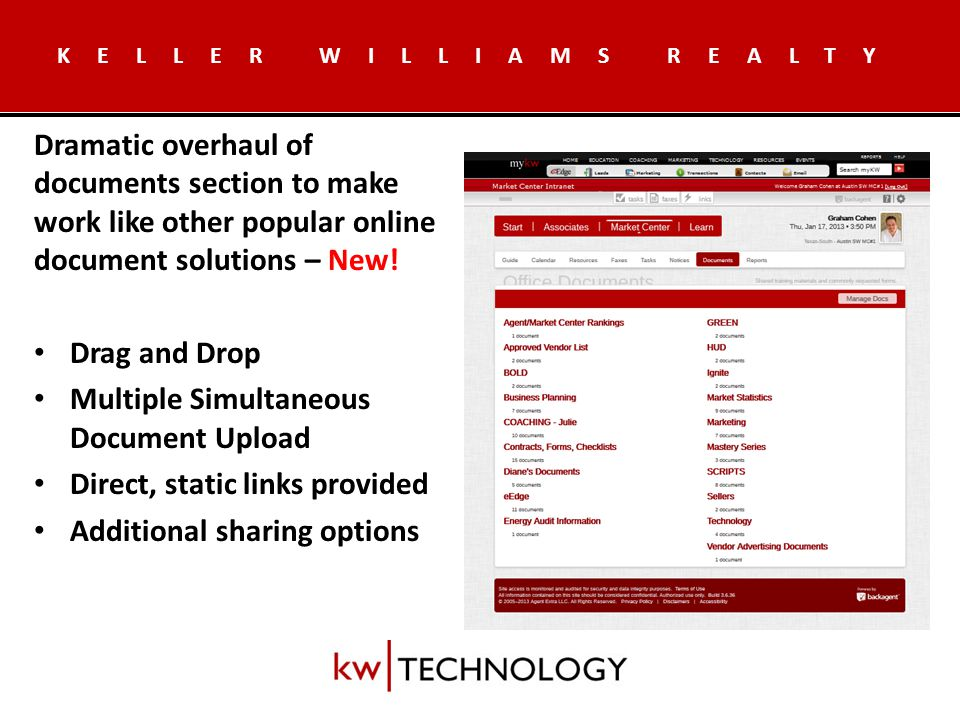 KELLER WILLIAMS REALTY Let the Market Center know when you're in the office.
