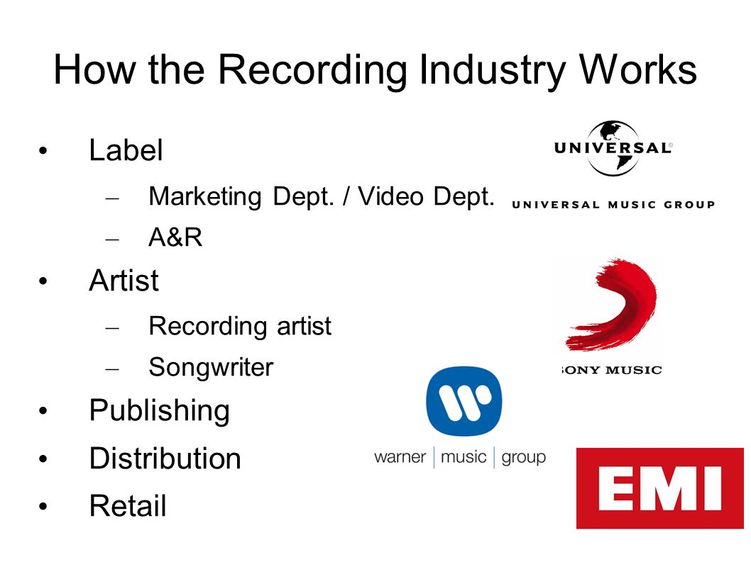 How the MV Industry Works Video Commissioner / A&R – Pays 50%, for hire – Gets ALL license/royalty revenues Band/Group/Artist – Pays 50% recoup against royalties – No IP revenue Production Company / Director Distro Exhibition / Retail – exclusive/non-exclusive license and pay