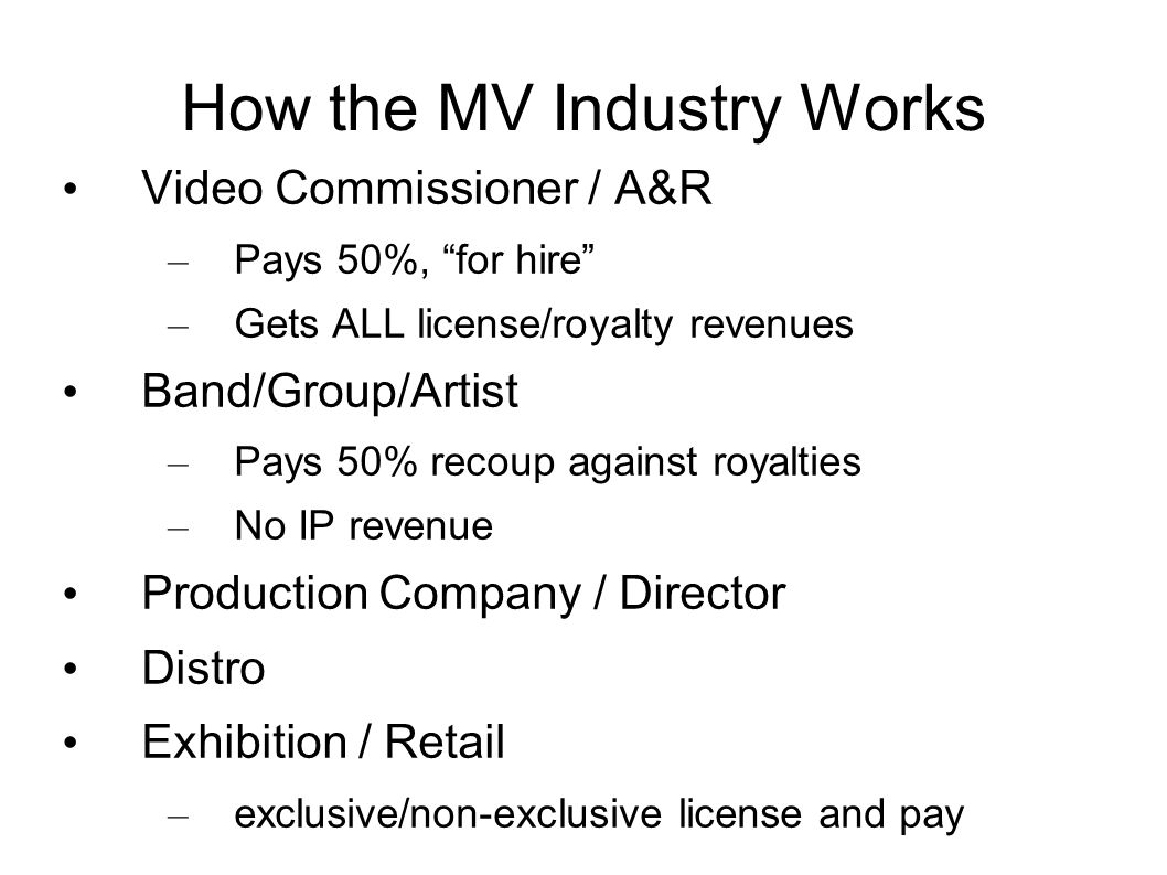 Roles in MV Production Production company (15%) – Executive Producer, makes $ Director (10%) / AD Producer: organize prod., budget, crew (5%) DP/Camera Operator/1 st AC Key Grip/Gaffer Glam Art Director / Production Designer Editor / Special Efx